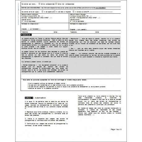 Contrat de diffusion d'oeuvres musicales en ligne